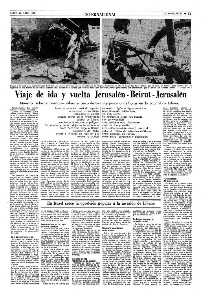 viaje ida y vuelta Jerusalén-Beirut-Jerusalén