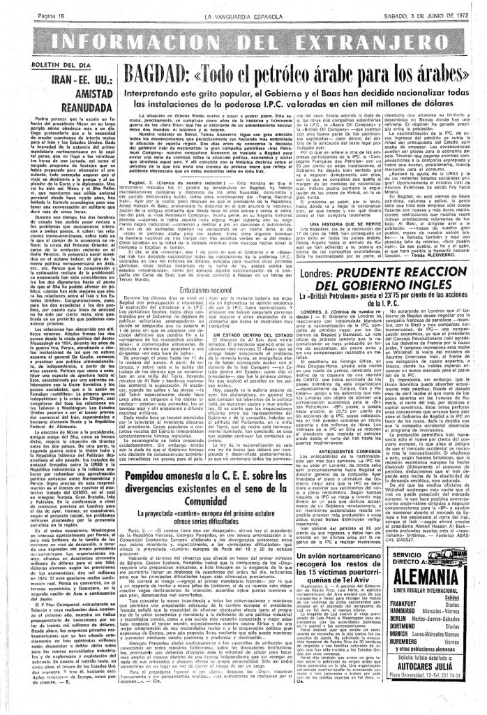 Todo el petróleo árabe para los árabes (3-6-1972)