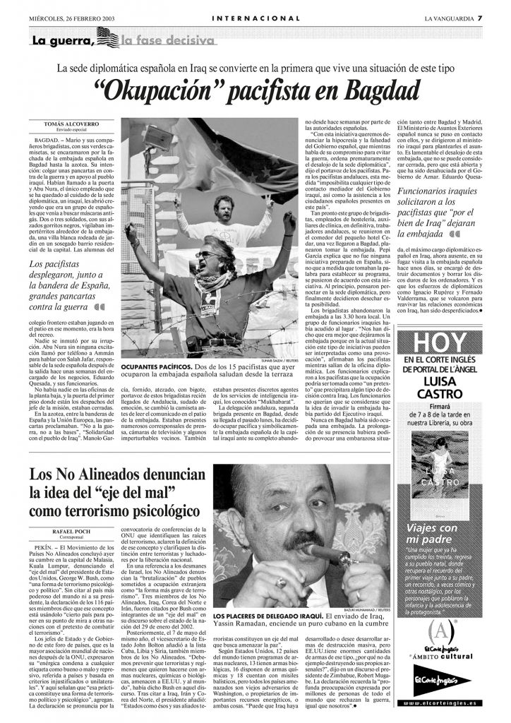 Artículo Los brigadistas ocupan la embajada de España - Tomás Alcoverro