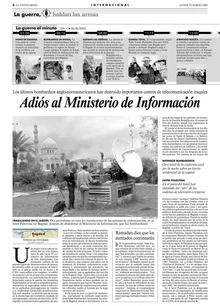Elegía al Ministerio de Información - artículo Tomás Alcoverro
