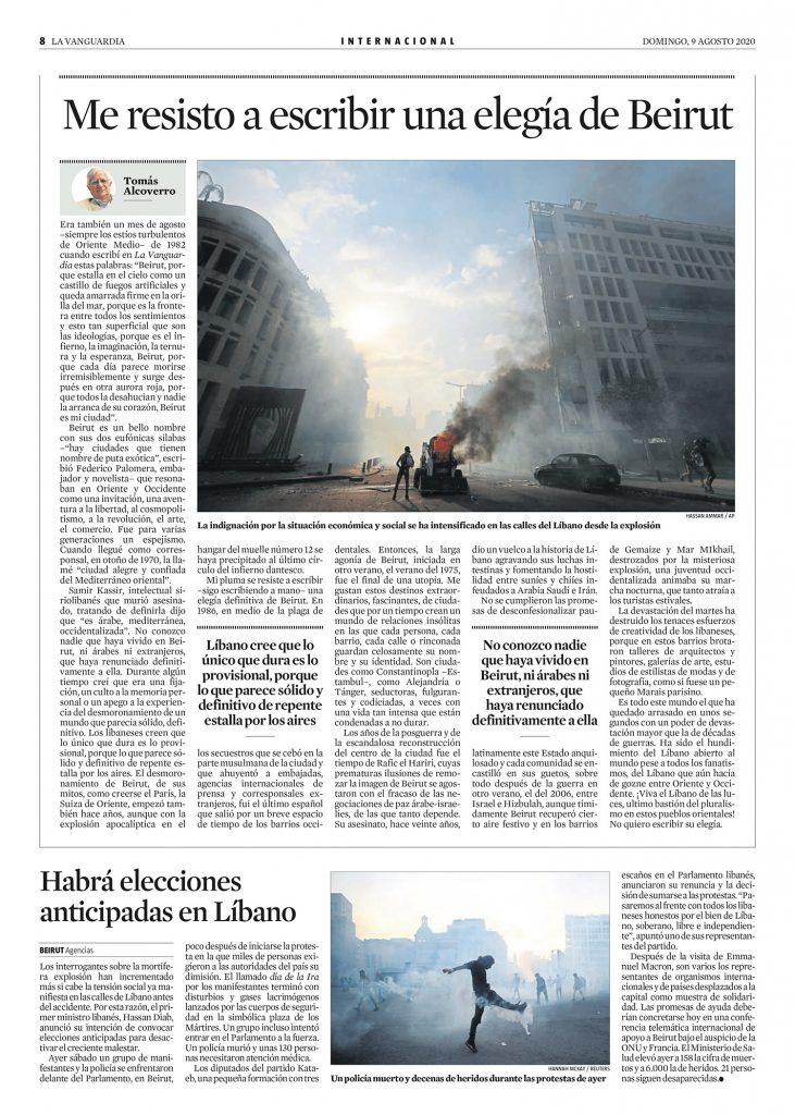 Me resisto a escribir una elegía de Beirut - artículo Tomás Alcoverro